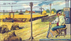 Vintage Victorian Postcard - Farming in Year 2000