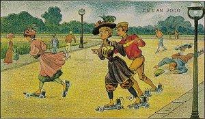 Victorian Postcard Electric Rollarskates