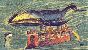 Victorian Postcard - Whale Powered Submarine