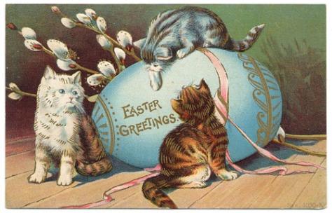 Kitten Easter Vintage Postcard