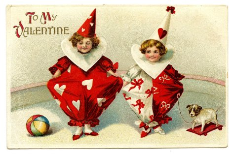 Vintage Postcard - Valentine Clowns