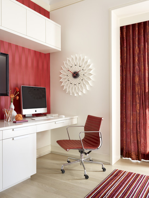 red black home office. red white and black home office