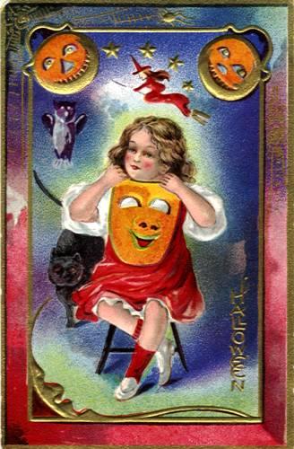 Halloween Vintage Victorian Postcard