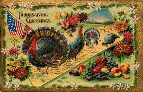 Vintage Victorian Postcard - Thanksgiving