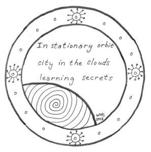 Orbiting Secrets, a Scifaiku poem illustration