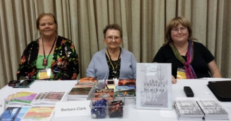 Westercon68 Autographing (2015) Jude-Marie Green, Barbara Clark, Wendy Van Camp.