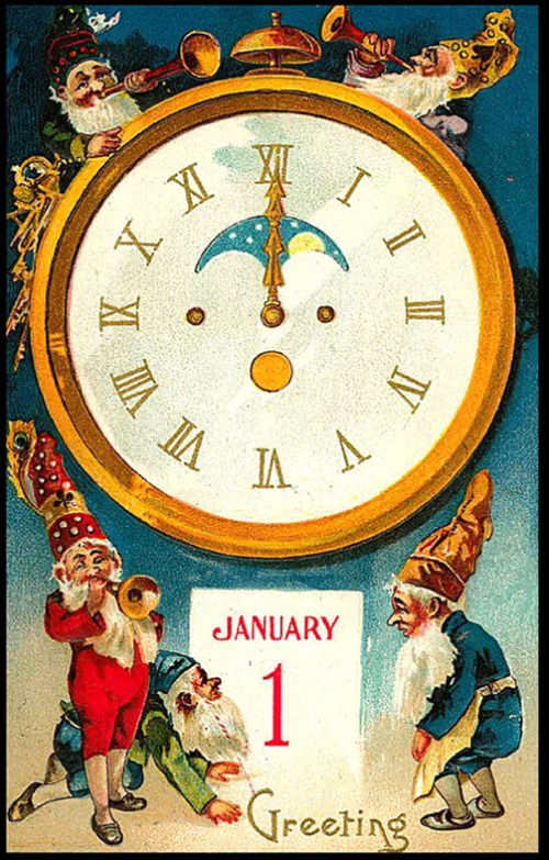 new-year-cards-old-vintage-elves-trompets-clock-2017